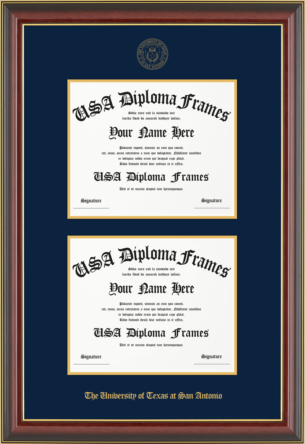 Double - Horizontal Documents-Cherry Mahogany Gold Trim Glossy Moulding -Navy Matt - Gold Accent Matt - Gold Seal - Gold Embossing