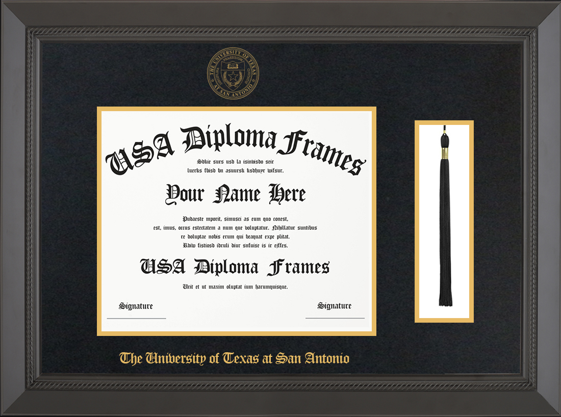 Single- Horizontal Document with Tassel-Black Rope Moulding -Black Suede Matt - Gold Accent Matt - Gold Seal - Gold Embossing