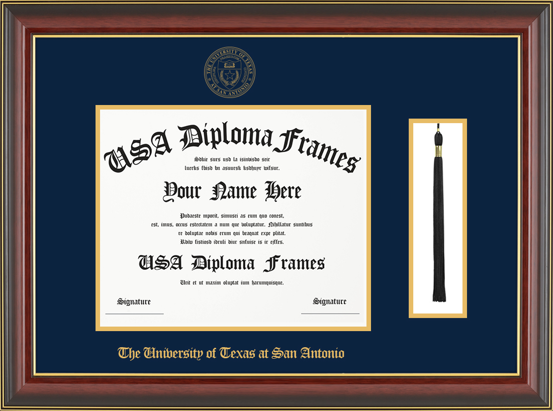 Single- Horizontal Document with Tassel-Cherry Mahogany Gold Trim Glossy Moulding -Navy Matt - Gold Accent Matt - Gold Seal - Gold Embossing