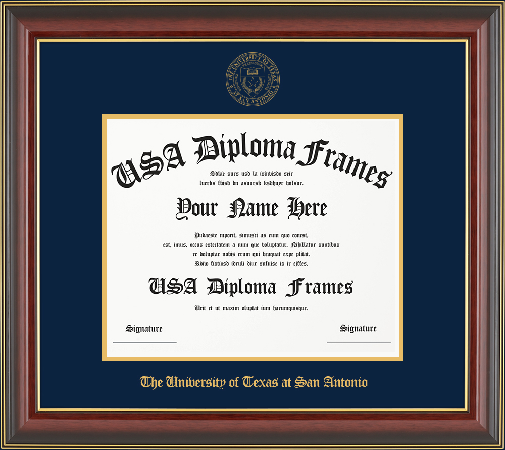 Single - Horizontal Document-Cherry Mahogany Gold Trim Glossy Moulding -Navy Matt - Gold Accent Matt - Gold Seal - Gold Embossing