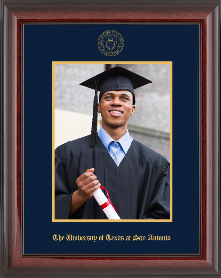 Single Picture Frame - Vertically - Cherry Mahogany Glossy Moulding - Navy Suede Mat - Gold Accent Mat - Gold Seal - Gold Embossing Diploma Frame