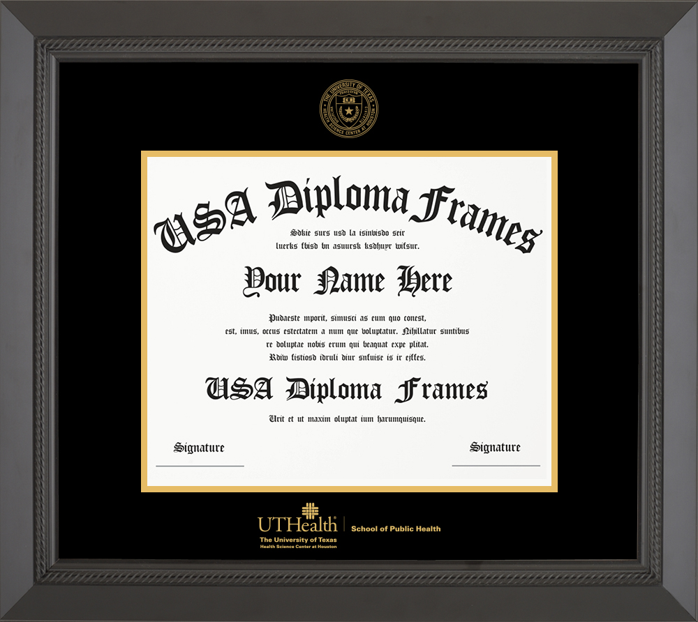 Single - Horizontal Document - Black Rope Moulding - Black Mat - Gold Accent Mat - Gold Seal - Gold Embossing Diploma Frame