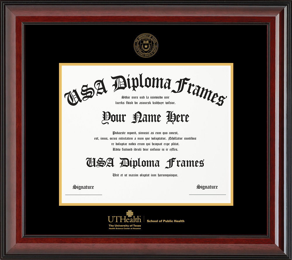 Single - Horizontal Document - Cherry Mahogany Glossy Moulding - Black Mat - Gold Accent Mat - Gold Seal - Gold Embossing Diploma Frame