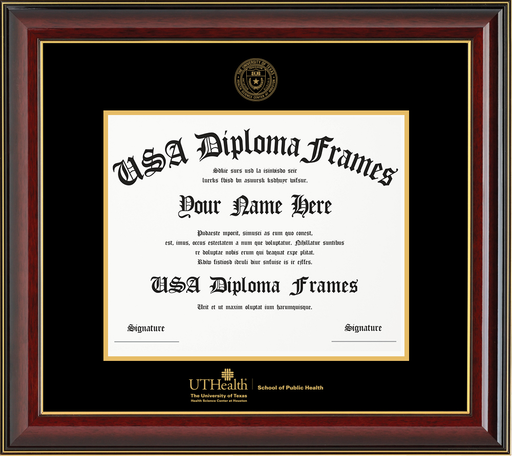 Single - Horizontal Document - Cherry Mahogany Gold Trim Glossy Moulding - Black Mat - Gold Accent Mat - Gold Seal - Gold Embossing Diploma Frame