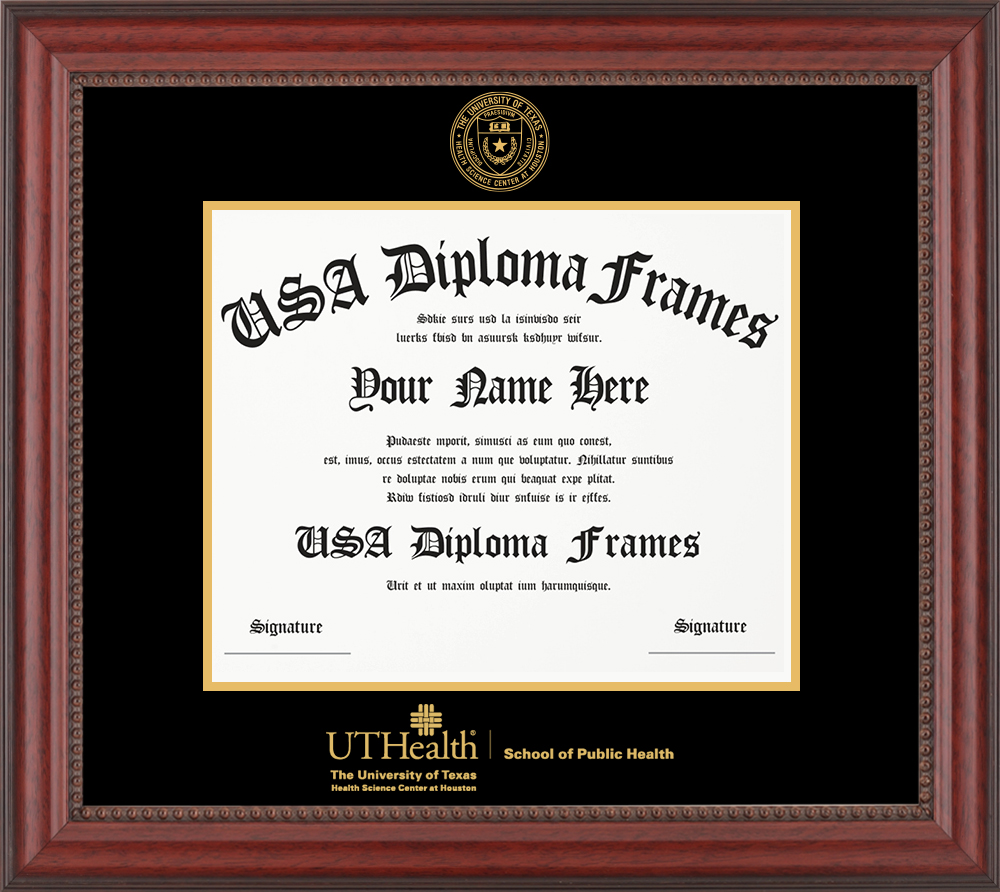 Single - Horizontal Document - Premium Cherry Bead Moulding - Black Mat - Gold Accent Mat - Gold Seal - Gold Embossing Diploma Frame
