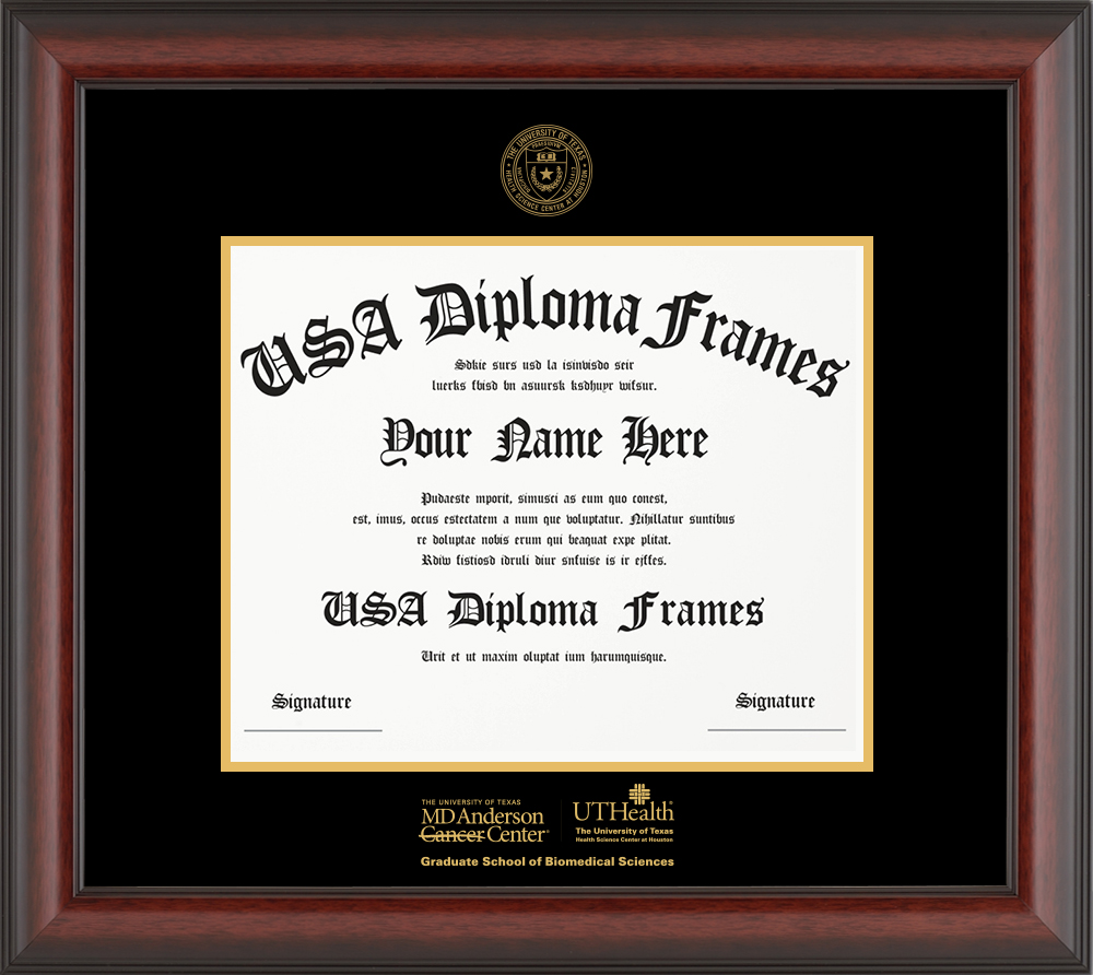 Single - Horizontal Document - Cherry Mahogany Matte Moulding - Black Mat - Gold Accent Mat - Gold Seal - Gold Embossing Diploma Frame