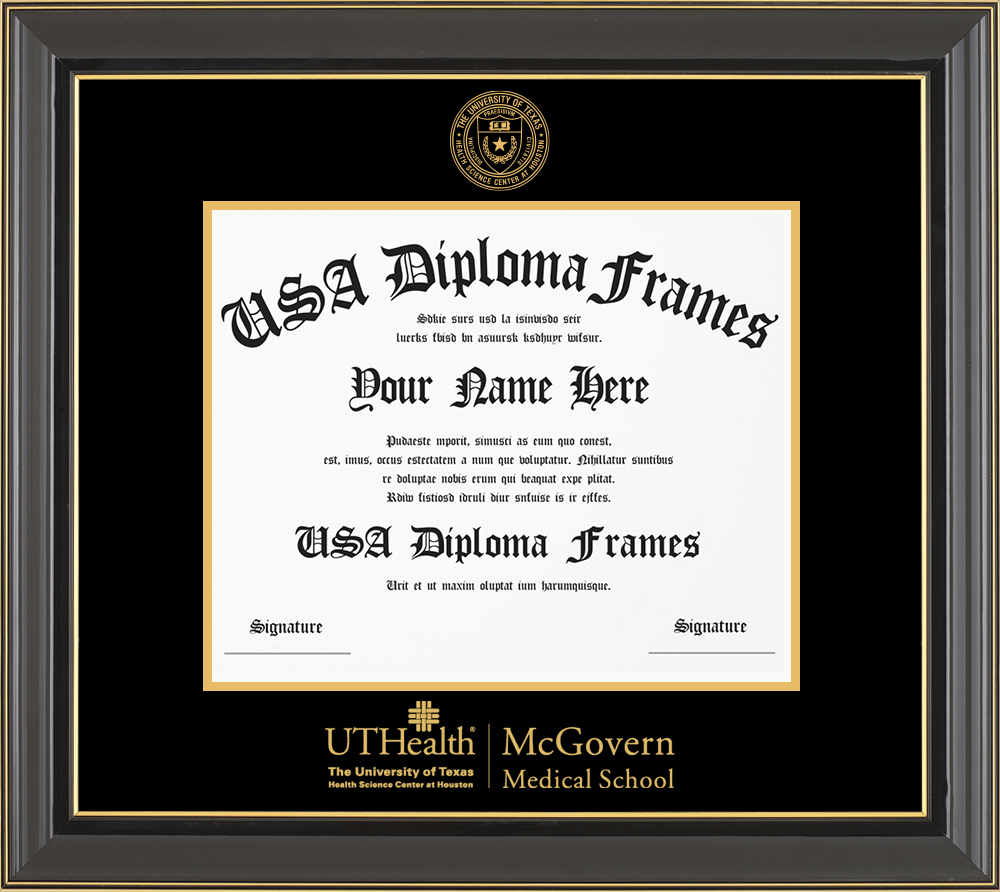 Single - Horizontal Document - Black Gold Trim Glossy Moulding - Black Mat - Gold Accent Mat - Gold Seal - Gold Embossing Diploma Frame